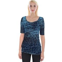 Blue Black Shiny Fabric Pattern Wide Neckline Tee