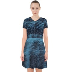 Blue Black Shiny Fabric Pattern Adorable In Chiffon Dress