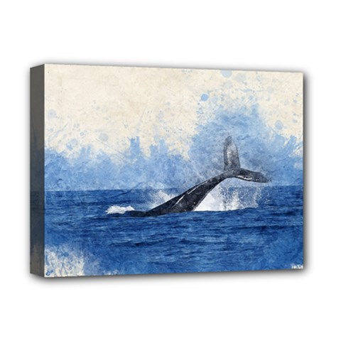 Whale Watercolor Sea Deluxe Canvas 16  X 12   by BangZart