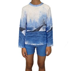 Whale Watercolor Sea Kids  Long Sleeve Swimwear