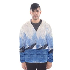 Whale Watercolor Sea Hooded Wind Breaker (men)