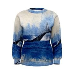 Whale Watercolor Sea Women s Sweatshirt