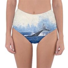Whale Watercolor Sea Reversible High Waist Bikini Bottoms