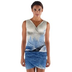 Whale Watercolor Sea Wrap Front Bodycon Dress