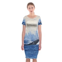 Whale Watercolor Sea Classic Short Sleeve Midi Dress