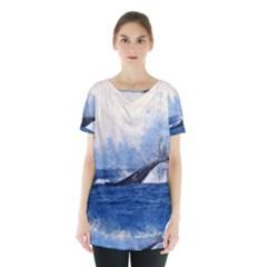 Whale Watercolor Sea Skirt Hem Sports Top by BangZart