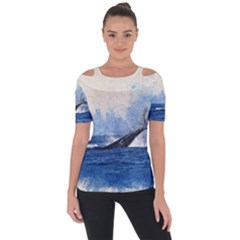 Whale Watercolor Sea Short Sleeve Top