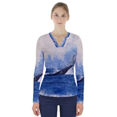 Whale Watercolor Sea V Neck Long Sleeve Top