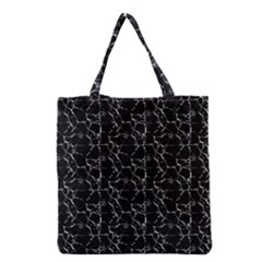 Black And White Textured Pattern Grocery Tote Bag by dflcprints