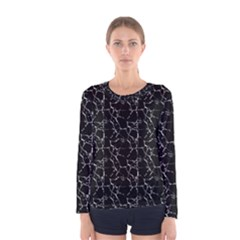 Black And White Textured Pattern Women s Long Sleeve Tee by dflcprints