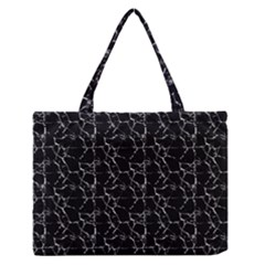 Black And White Textured Pattern Zipper Medium Tote Bag by dflcprints