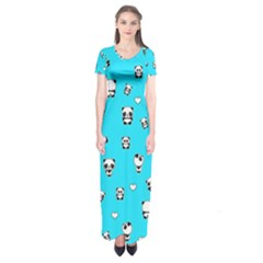 Panda Pattern Short Sleeve Maxi Dress by Valentinaart
