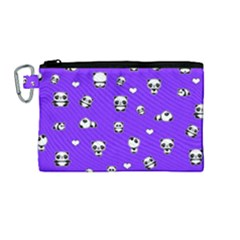 Panda Pattern Canvas Cosmetic Bag (medium) by Valentinaart