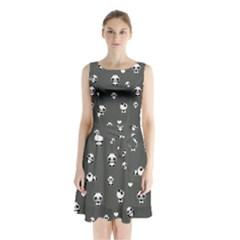 Panda Pattern Sleeveless Waist Tie Chiffon Dress