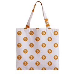 Bitcoin Logo Pattern Zipper Grocery Tote Bag by dflcprints
