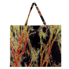 Artistic Effect Fractal Forest Background Zipper Large Tote Bag by Amaryn4rt