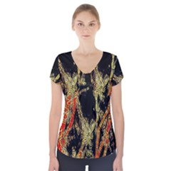 Artistic Effect Fractal Forest Background Short Sleeve Front Detail Top