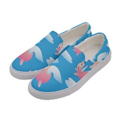 Flying Piggys Pattern Women s Canvas Slip Ons by allthingseveryday