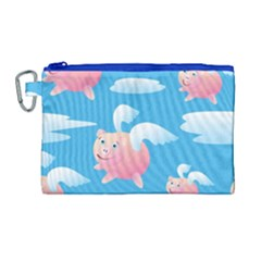 Flying Piggys Pattern Canvas Cosmetic Bag (large) by allthingseveryday
