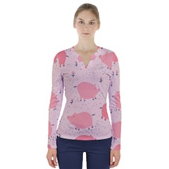 Pigs And Flowers V Neck Long Sleeve Top by allthingseveryday
