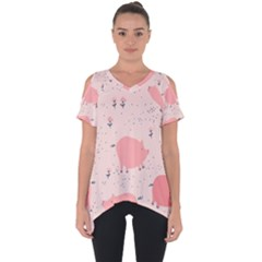 Pigs And Flowers Cut Out Side Drop Tee by allthingseveryday