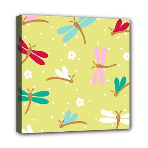 Colorful Dragonflies And White Flowers Pattern Mini Canvas 8  X 8  by allthingseveryday