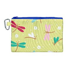 Colorful Dragonflies And White Flowers Pattern Canvas Cosmetic Bag (large) by allthingseveryday