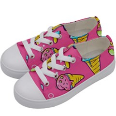 Summer Ice Creams Flavors Pattern Kids  Low Top Canvas Sneakers by allthingseveryday
