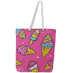 Summer Ice Creams Flavors Pattern Full Print Rope Handle Tote (large) by allthingseveryday