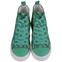 Green Fan  Women s Mid Top Canvas Sneakers