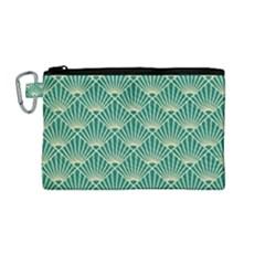 Green Fan  Canvas Cosmetic Bag (medium) by 8fugoso