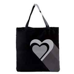Heart Love Black And White Symbol Grocery Tote Bag by Celenk