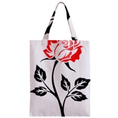 Flower Rose Contour Outlines Black Zipper Classic Tote Bag by Celenk
