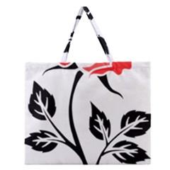 Flower Rose Contour Outlines Black Zipper Large Tote Bag by Celenk