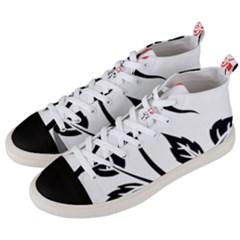 Flower Rose Contour Outlines Black Men s Mid Top Canvas Sneakers by Celenk