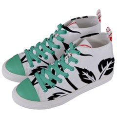 Flower Rose Contour Outlines Black Women s Mid Top Canvas Sneakers by Celenk