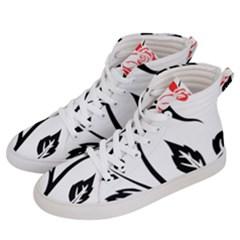 Flower Rose Contour Outlines Black Men s Hi Top Skate Sneakers by Celenk