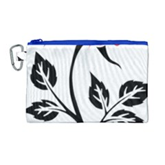 Flower Rose Contour Outlines Black Canvas Cosmetic Bag (large)