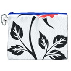 Flower Rose Contour Outlines Black Canvas Cosmetic Bag (xxl) by Celenk