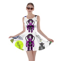 Space Clip Art Aliens Space Craft Skater Dress by Celenk