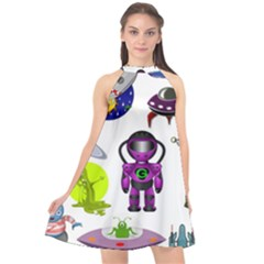 Space Clip Art Aliens Space Craft Halter Neckline Chiffon Dress  by Celenk