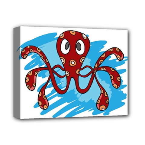 Octopus Sea Ocean Cartoon Animal Deluxe Canvas 14  X 11  by Celenk