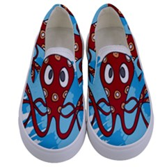 Octopus Sea Ocean Cartoon Animal Kids  Canvas Slip Ons