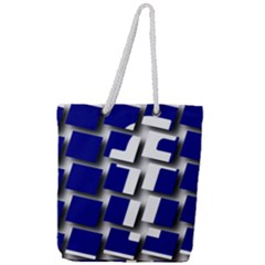 Facebook Social Media Network Blue Full Print Rope Handle Tote (large)