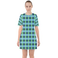 Rockabilly Retro Vintage Pin Up Sixties Short Sleeve Mini Dress