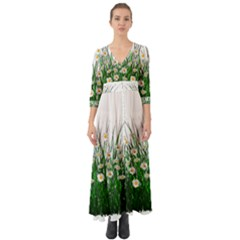 Spring Flowers Grass Meadow Plant Button Up Boho Maxi Dress