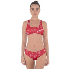 Template Winter Christmas Xmas Criss Cross Bikini Set