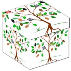 Tree Root Leaves Owls Green Brown Storage Stool 12   by Celenk
