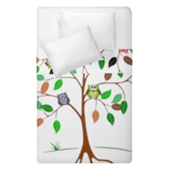 Tree Root Leaves Owls Green Brown Duvet Cover Double Side (single Size) by Celenk