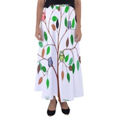 Tree Root Leaves Owls Green Brown Flared Maxi Skirt